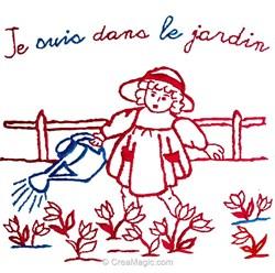 Broderie traditionnelle en kit Au Fil De L'Ange je suis dans le jardin