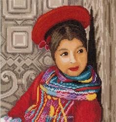Fille péruvienne sur toile Aida 5.4 - Lanarte