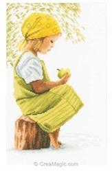 Fille avec pomme sur toile de Etamine 10.5 fils - Lanarte