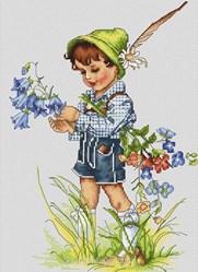 Kit tableau Luca-S point de croix bouquet pour maman