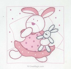 Kit de broderie imprimée DMC câlin lapin et doudou rose