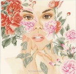 Visage floral sur toile Aida 5.4 - Lanarte