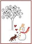 Chaton et bonhomme de neige - Marie Coeur
