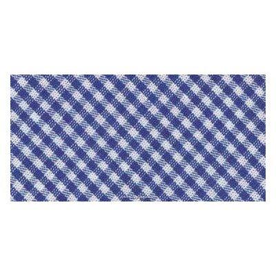 Biais vichy coton rouleau 20M replié en 2 de largeur 20-9.5mm bleu - Fillawant