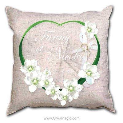 Coussin de mariage Fleurs blanche - Princesse