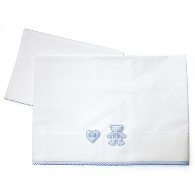 Drap + oreiller bleu Mon petit coeur - DMC