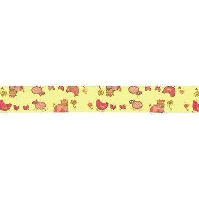 Biais animaux de la ferme 2 rose rouleau 20M replié en 2 de largeur 20-9.5mm - Fillawant