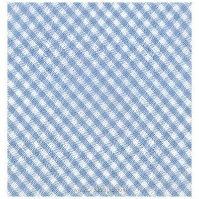 Biais vichy coton rouleau 20M replié en 2 de largeur 20-9.5mm bleu ciel - Fillawant