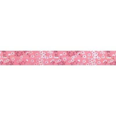 Biais fleurie rose rouleau 20M replié en 2 de largeur 20-9.5mm - Fillawant