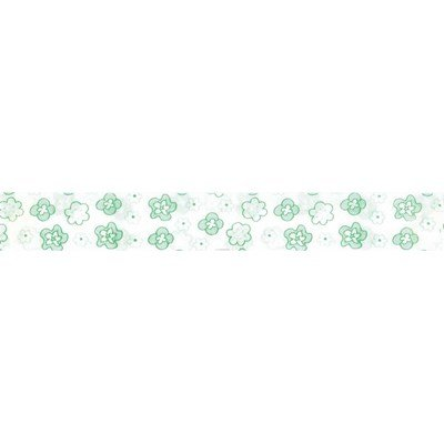 Biais fleurettes vert rouleau 20M replié en 2 de largeur 20-9.5mm - Fillawant