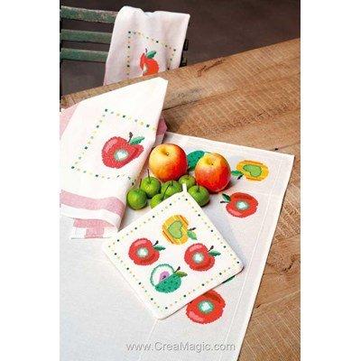 Torchon pommes rouge lot de 2 - Vervaco