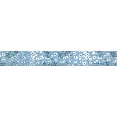 Biais fleurie bleu rouleau 20M replié en 2 de largeur 20-9.5mm - Fillawant