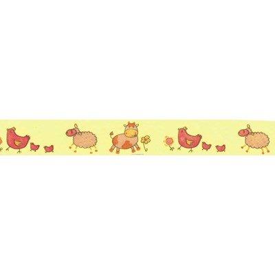 Biais animaux de la ferme rose rouleau 20M replié en 2 de largeur 20-9.5mm - Fillawant