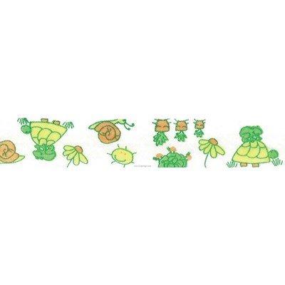 Biais tortues et escargot vert piécette de 3M replié en 2 de largeur 20-9.5mm - Fillawant