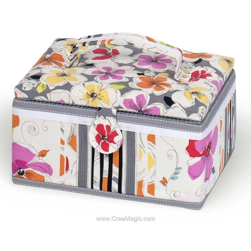 Boite couture tissu fleurs color es 224 1200 19 for Boite a couture tissu