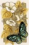 Mini kit au point de croix automne et papillon bleu - Vervaco