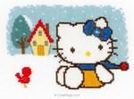 Kit tableau point de croix hello kitty l'hiver de Vervaco