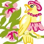 Canevas enfant en kit Luc Création madame oiseau jaune