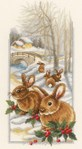 Lapin d'hiver kit au point de croix compté - Vervaco