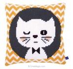 Kit coussin clin d'oeil de chaton au point de croix - Vervaco