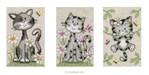 Mini kit à broder chats dans les fleurs - lot de 3 - Vervaco