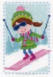 Kit point de croix de Vervaco à broder la petite skieuse