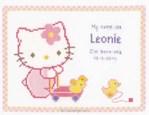 Broderie au point de croix compté tableau prénom hello kitty baby - Vervaco