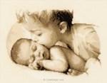 Tableau naissance au point croix amour de frère de vervaco