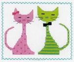 Kit tableau Vervaco point de croix deux chats colorés