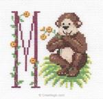 Kit tableau point de croix initiale petit singe - DMC