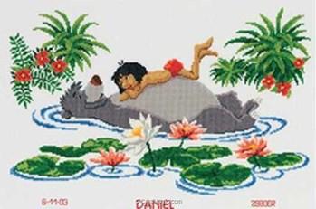 broderie tableaux pr nom mowgli et baloo le livre de la jungle de disney 2575 70952 chez vervaco. Black Bedroom Furniture Sets. Home Design Ideas