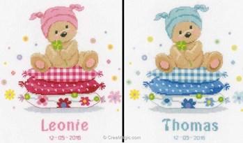 Vervaco broderie tableau pr nom ourson sur les oreillers - Tableau de naissance point de croix gratuit ...