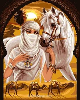 Rafael Angelot la princesse du désert et son cheval à broder