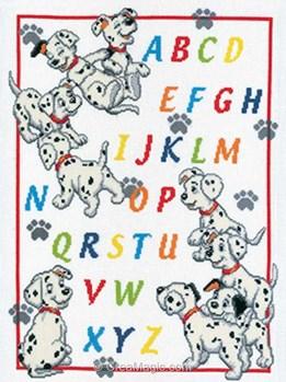 Kit à broder de Vervaco au point de croix abécédaire alphabet sur les pas des dalmatiens de disney