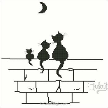 Broderie trois chats et lune k 132 de points de rep re - Broderie point compte grille gratuite ...