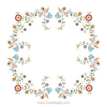 Kit nappe imprim e en broderie point divers floral art de for Amour cuisine chez soulef