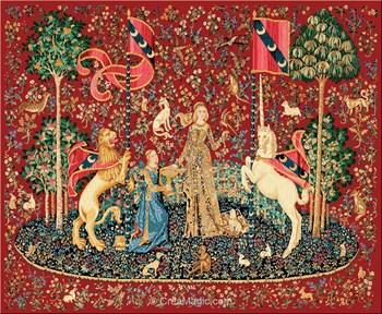 Luc cr ation kit point croix dame la licorne le go t - La tapisserie de la dame a la licorne ...