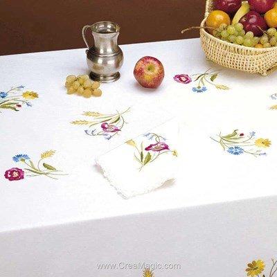 Serviette de table imprimée laure en broderie traditionnelle - Bordée dentelle de Luc Création