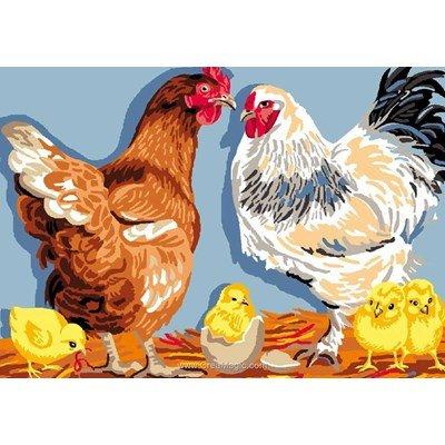 Canevas Luc Création le nid de la famille poule