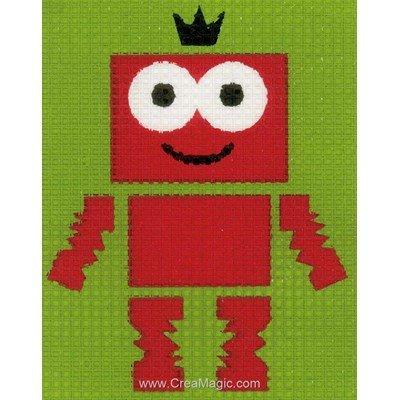 Robot rouge kit canevas débutant - Vervaco