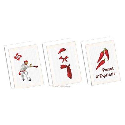 Carte à broder lot de 3 cartes souvenir du pays basque de Marie Coeur