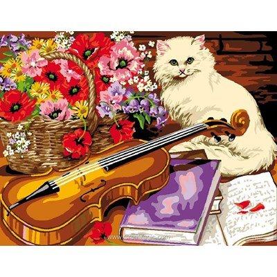 Canevas Luc Création le chat et le violon