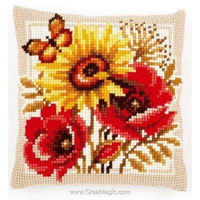 Kit coussin Vervaco fleur d'automne et papillon au point de croix