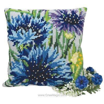 Kit coussin point de croix bleuets - Collection d'art