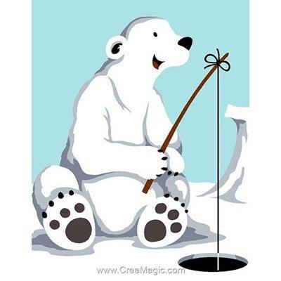 Kit canevas Margot pour enfants ours blanc à la pêche