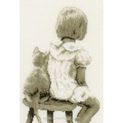 Vervaco la broderie petite fille et son chat