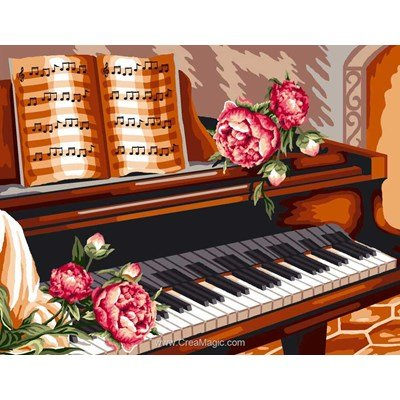 Canevas Mimo Verde quatre fleurs sur un piano