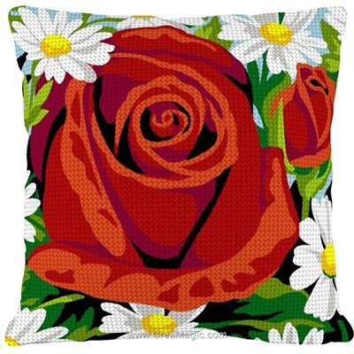 Kit coussin SEG la rose et les marguerittes au demi point