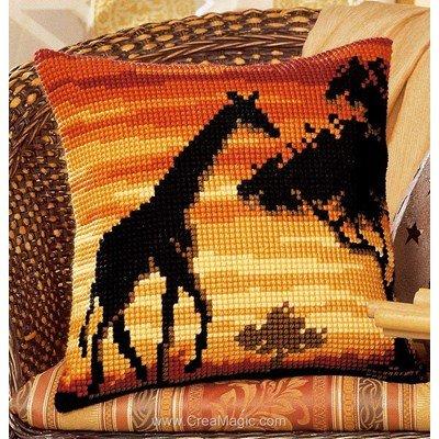 Kit coussin point de croix Vervaco girafe d'afrique