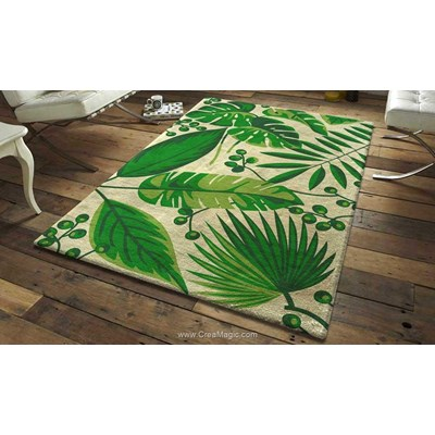 Kit tapis point noue Smyrnalaine feuilles tropicales zoé